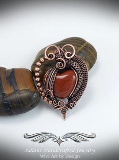 Goldstone Heart Wire Wrap Pendant Antiqued Copper w/ Adjustable Corded Chain