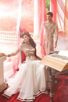 Anjalee and Arjun Kapoor's Phantom Collection white anarkali kurta Pakistani Bridal, Pakistani Dresses, Indian Dresses, Indian Outfits, Indian Attire, Indian Clothes, Indian Wear, Desi Wedding, Wedding Attire