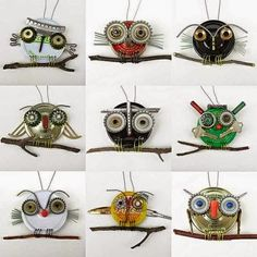 upcycled owls, kid-made, Robin Romain - Rawbone Studio Art For Kids, Crafts For Kids, Arts And Crafts, Bottle Cap Art, Found Object Art, Owl Crafts, Junk Art, Owl Art, Recycled Crafts