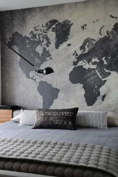 Map mural on concrete walls - fun idea for and industrial look