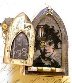 gothic Arch Steampunk by Sarah Fawcett - Saimba Mixed Media, Assemblage Art, Sketch Book, Artist Trading Cards, Sketchbook Cover, Art, Book Art, Paper Art, Altered Art