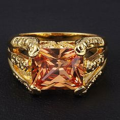 Jenny G Jewelry Size 10 / T Antique Men's Topaz 18K Yellow Gold Filled Claw Ring