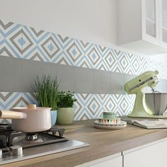 carreau_de_ciment_belle_epoque_decor_anna_gris__bleu_et_blanc__l_20_x_l_20_cm Decor, Kitchen Projects, Interior, Interior Design Kitchen, House Interior, Stylish Kitchen Decor, Kitchen Tiles, Home Interior Design, Kitchen Design