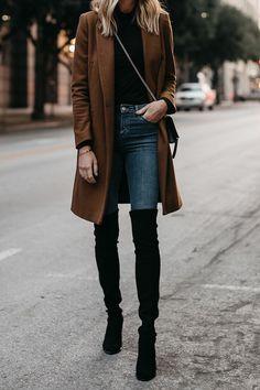 Camel Wool Coat Black Turtleneck Denim Skinny Jeans Black Over the Knee Boots Fashion Jackson Dallas Blogger Fashion Blogger Street Style