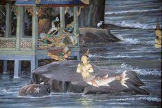 Ravana instructs mermaid daughter to ruin Rama's bridge (Thai Ramayana mural at Emerald Buddha Temple)