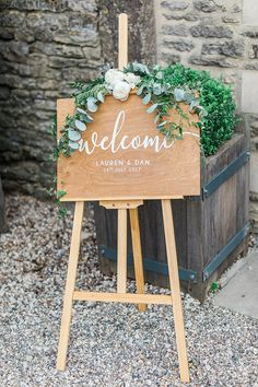Wooden Welcome Sign with Peonies & Eucalyptus Decor | Marble, Copper & Greenery Wedding at Cripps Barn Cotswolds | Summer Lily Studio Photography