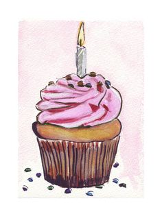 Watercolor Painting  Pink Birthday Cupcake with by jojolarue, $12.00
