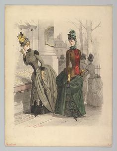 Two Women in Day Dresses: Preparatory drawing for a fashion plate from Le Moniteur de la Mode - October 1886