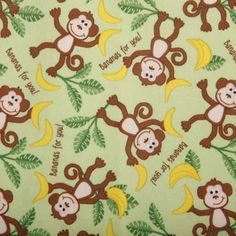 Babyville Boutique Playful Friends Monkeys 64in Laminated PUL laminated cotton fabric.