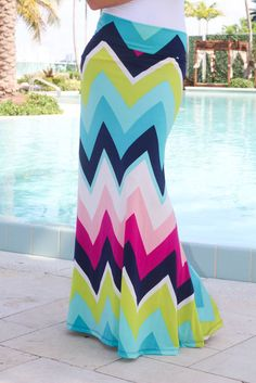 Buy this adorable Multi Color Chevron Maxi Skirt from Saved by the Dress Boutique. Must have multi color skirt for summer. Mix & match with different cute tops! Maxi Skirt Outfits, Modest Outfits, Modest Fashion, Cute Outfits, Fashion Outfits, Maxi Dresses, Long Dresses, Fasion, Chevron Maxi Skirts