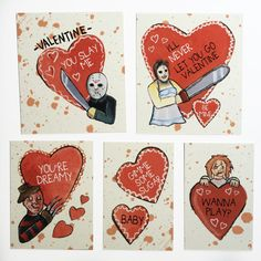 DIGITAL DOWNLOAD - Serial Killers Sweethearts Horror Valentine Set - Print and Cut Out Yourself!