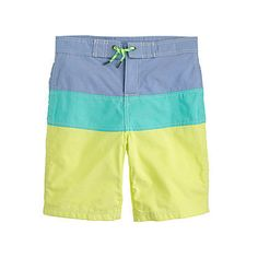 Preppy and simple, these Crew Cuts Oxford Cloth Board Shorts in Colorblock Stripe ($48) will keep him cool long past Spring break.
