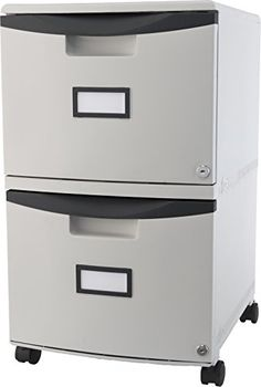 Storex 2-Drawer Mobile Filing Cabinet with Lock, Letter/Legal Size 18.25 x 14.75 x 26 Inches, Black Trim (STX61307B01C) - http://www.homeandofficeproducts.com/storex-2-drawer-mobile-filing-cabinet-with-lock-letterlegal-size-18-25-x-14-75-x-26-inches-black-trim-stx61307b01c/