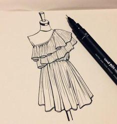 - to draw . Dress Design Drawing, Dress Design Sketches, Fashion Design Sketchbook, Fashion Design Drawings, Fashion Sketches, Drawing Sketches, Doodle Drawings, Fashion Figure Drawing, Fashion Model Drawing
