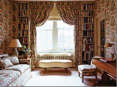 Lee Radizwill's New York library (current) in Elle Decor