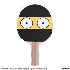 Cartoon Surprised Ninja Ping Pong Paddle