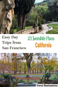 The San Francisco Bay Area is an incredible place to explore. Here is a list of easy day trips from San Francisco which you can do solo or with family and friends. A change of scene, smell, and sound along with unhurried conversations will be your reward if you embark on any of these journeys. Let your everyday anxiety and stress ebb away. #SanFrancisco #California #DayTripsFromSanFrancisco #BayArea #TravelSanFrancisco California Destinations, Road Trip Destinations, California Vacation, San Diego Travel, San Francisco Travel, Cool Places To Visit, Places To Travel, California Pictures, European Road Trip