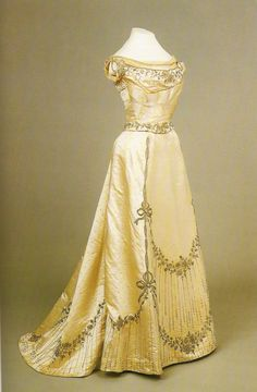 One of Empress Alexandra's gowns, c.1898. This looks simple, so that it can be a blank canvas for jewels.