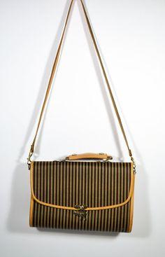 Vintage 80s Fendi Style Hardcase Satchel Stripe by saltwatergypsy