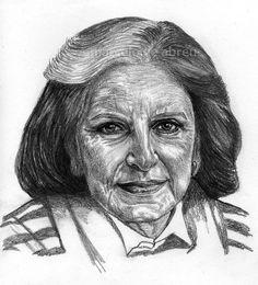 Brazilian writer Lygia Fagundes Telles / drawing by Marcelo F de Abreu