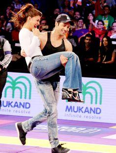 Varun Dhawan seen lifting Jacqueline Fernandez Varun at Pro Kabaddi. #Bollywood #Fashion #Style #Beauty #Hot #Sexy