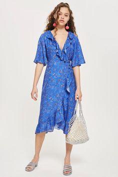 New Purple V Neck Patterned Wrap Dress Blue Banana Three Quarter Sleeve