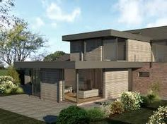 timber framed bungalows courtyard - Google Search Flat Roof Design, Green Belt, Open Plan Living, Keller Interiors, Minimalism, Living Spaces, Brick, New Homes, Outdoor Structures