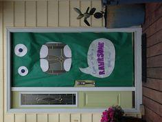 Monster birthday party door decoration