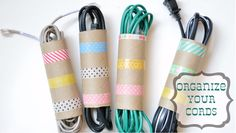 What a great idea! I hate cords all over the place.  Organize your cords and make them cute at the same time with Washi Tape.