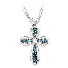 Heaven's Blessing Women's Religious Cross Diamond Pendant Necklace