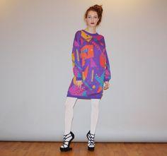 1980s Graphic Geometric Oversized Purple Sweater Dress