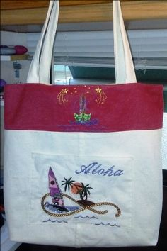 Reversible Beach Tote made from a beach dress and a pair of red jeans.