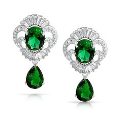 Great Gatsby Bling Jewelry Emerald Color CZ Teardrop Earrings