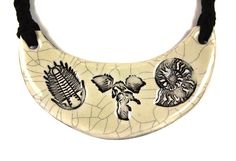 Fossil Ceramic Necklace in Cream Crackle with Braided by surly, $38.00