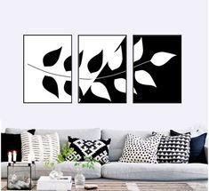 Set of 3 botanic prints black and white leaf Printable wall art set Digital Prints 3 Piece Canvas Art, Diy Canvas Art, Canvas Wall Art, Wall Art Prints, 3 Piece Wall Art, Wall Art Sets, Diy Wall Art, Black Wall Art, Black And White Artwork