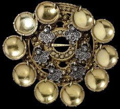 Circular silver-gilt ring brooch (slangesølje) with numerous pendants, Norway, Museum Number Filigree Ring, Silver Filigree, The V&a, Victoria And Albert Museum, Makers Mark, Metal Working, Heart Shapes, Pearl Earrings, Pendants