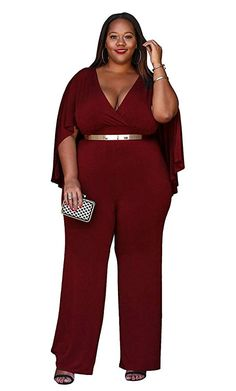 cb282876b54b Women s Plus Size Jumpsuit with Attached Flowing Cape in Burgundy Rompers  Women