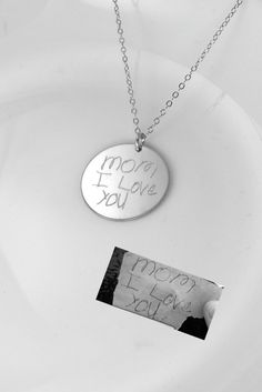 """A loved one's actual handwriting forever inscribed on 7/8"""" silver disc - Signatures - Artwork - personalized pendant - Father's - Mothers"""