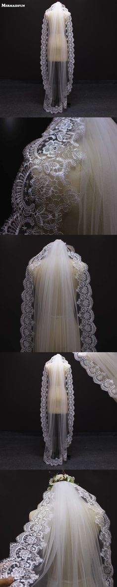 2017 Single Layer Full Lace Edge Chapel Mantilla Romantic Wedding Veil With Comb White Ivory Tulle Bridal Veil Sluier