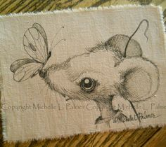 Mouse Butterfly original pen ink illustration on fabric Quilt Label by Michelle Palmer