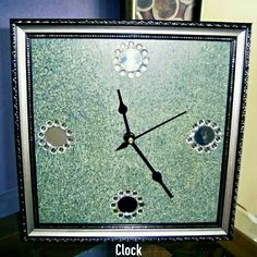 TITLE : Sky Blue Mirror. MEDIUM : Acrylics and texture on Wood. FEATURE : The points are big mirrors with transparent sequence around...an ornate silver frame enhances its appearance. #MeghnaCreations #creations #clock #sky #blue #big #mirror #transparentsequence  #acrylics #texture #onwood #arts #silver #carved #frame #simpledesign #gift #mumbai #pintrest