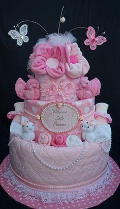 Sweet Baby Girl Diaper Cake www.facebook.com/DiaperCakesbyDiana