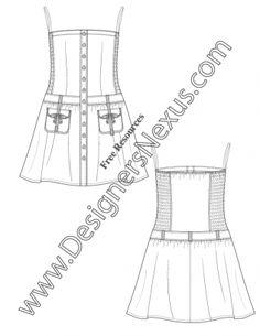 Strapless Dress with Smocked Side Panels V65 Illustrator Flat Fashion Sketch