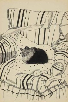 The Sleeping Cat - Lucian Freud (b. The Sleeping Cat signed 'Lucian Freud' (lower left) ink and pencil on paper laid down on card x x Executed circa 1944 Art And Illustration, Illustrations, Cat Drawing, Painting & Drawing, Lucian Freud, Sigmund Freud, Figure Painting, Cat Art, Oeuvre D'art