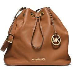 MICHAEL Michael Kors Large Jules Drawstring Shoulder Bag ($298) ❤ liked on Polyvore featuring bags, handbags, shoulder bags, luggage, leather shoulder bag, shoulder hand bags, genuine leather purse, genuine leather shoulder bag and genuine leather handbags