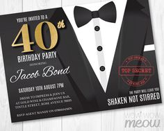 40th Birthday Invite FORTY Secret Agent Spy Party Invitation INSTANT DOWNLOAD 40 Editable Bond Tuxedo Black Tie Suit Personalize Printable