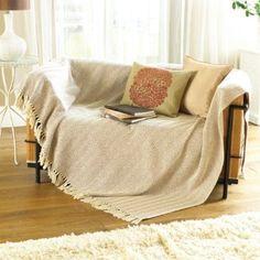 Natural Beige Sofa Throw
