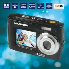 Appareil photo numérique MAGINON(R) Etanche jusqu'à 3 m  Double écran  10 effets spéciaux dans le mode photo / vidéo  Coloris assortis  Inclus :   - Carte mémoire microSDHC 4GO - 2 piles type LR03 (AAA) - Housse avec dragonne - Câble USB