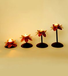 #Golden Cut Work Metal #Candle #Stand ( Set of 4 ) by #Cosmic #Mantra at #Indianroots