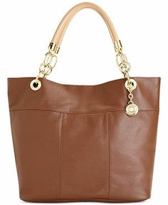 Tommy Hilfiger TH Signature Large Leather Tote - Tommy Hilfiger - Handbags & Accessories - Macy's
